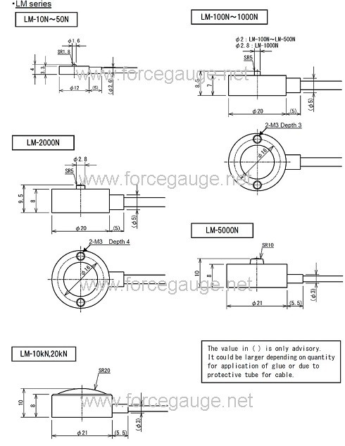 Coin shaped load cell LM series dimensions