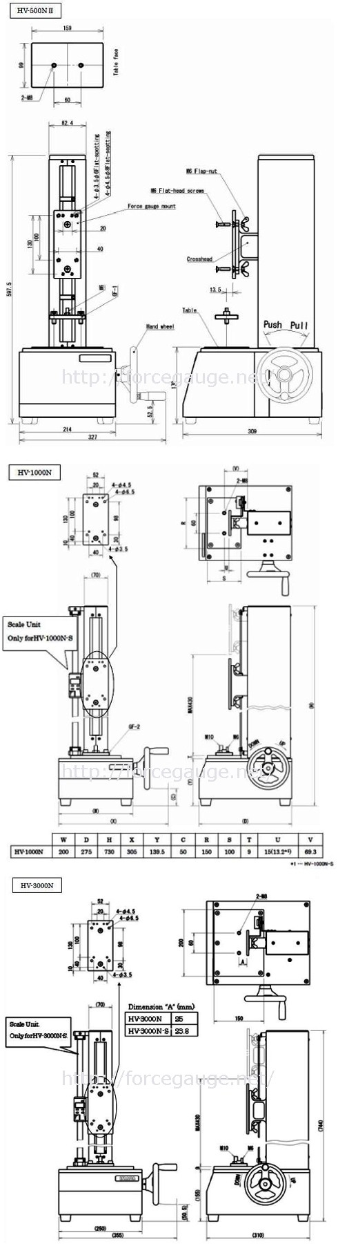 Dimensions for HV series Manual force tester