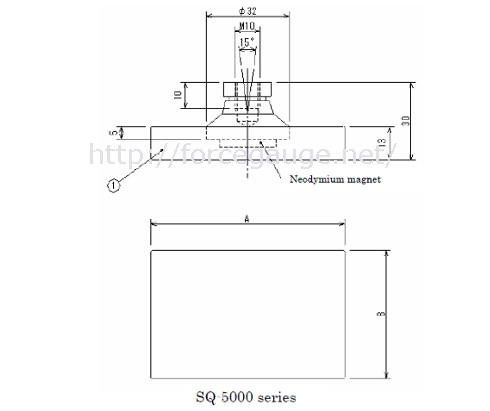 Dimensions for SQ series Rectangular Jig for High Load Compression Test