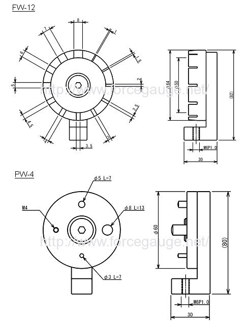 Dimensions for FW-12/PW-4