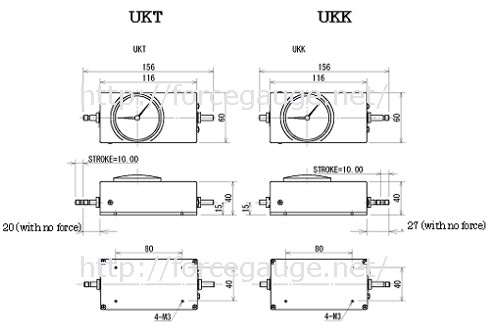 Specifications for UK series Mechanical force gauge (Push pull scale)